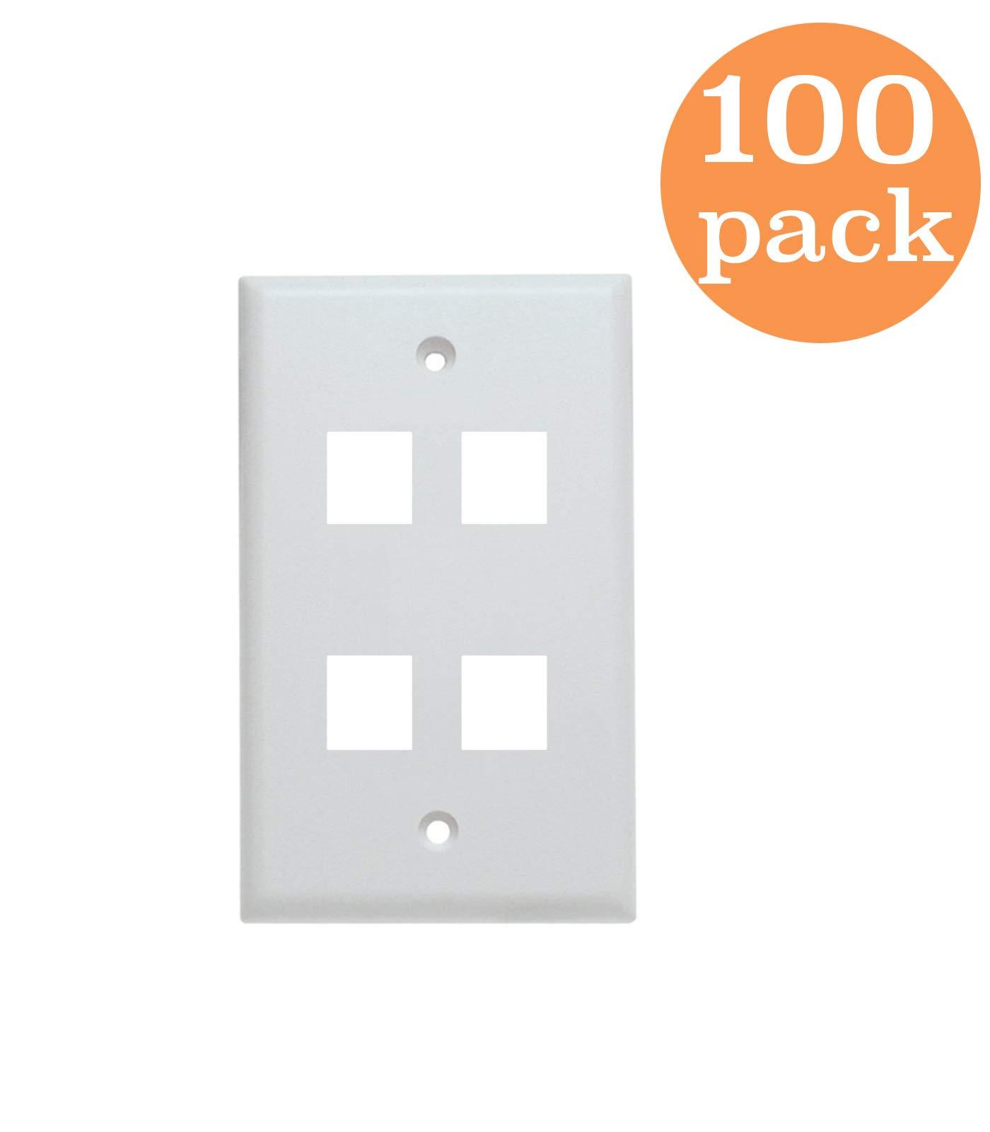 Tricom White Single Gang Cat5e / Cat6 Keystone Wall Plate (100 Pack, 4 Port)