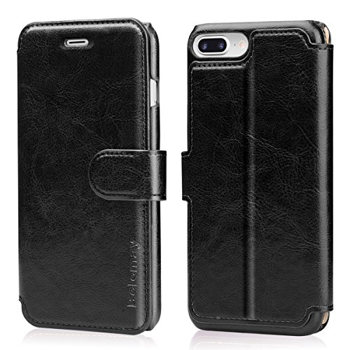 Belemay iPhone 8 Plus Case, iPhone 7 Plus Case, Genuine Leather Wallet Case, Flip Folio Cover Card Holder Slots, Magnetic Clasp, Kickstand, Cash Pockets Compatible iPhone 8 Plus/iPhone 7 Plus, ()
