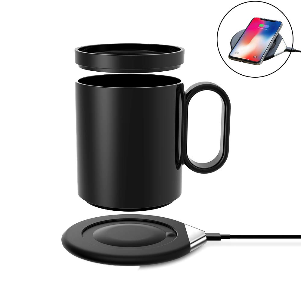 Eaglean 2 in 1 Coffee Mug Warmer with Wireless Charger 55 Degree Thermostatic (about 122°F/50°C) Heating Warm Cup Wireless Charger Coaster Hot Warm Coffee for Home & Office Use, Black