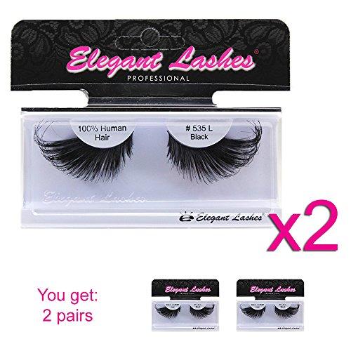 Elegant Lashes #535L Thick Long Black Human Hair - Drag Queen Costumes