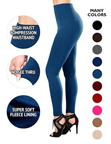 SATINA Fleece Lined Leggings High Waist Compression Slimming Warm Opaque Tights (One Size, Dark Teal)