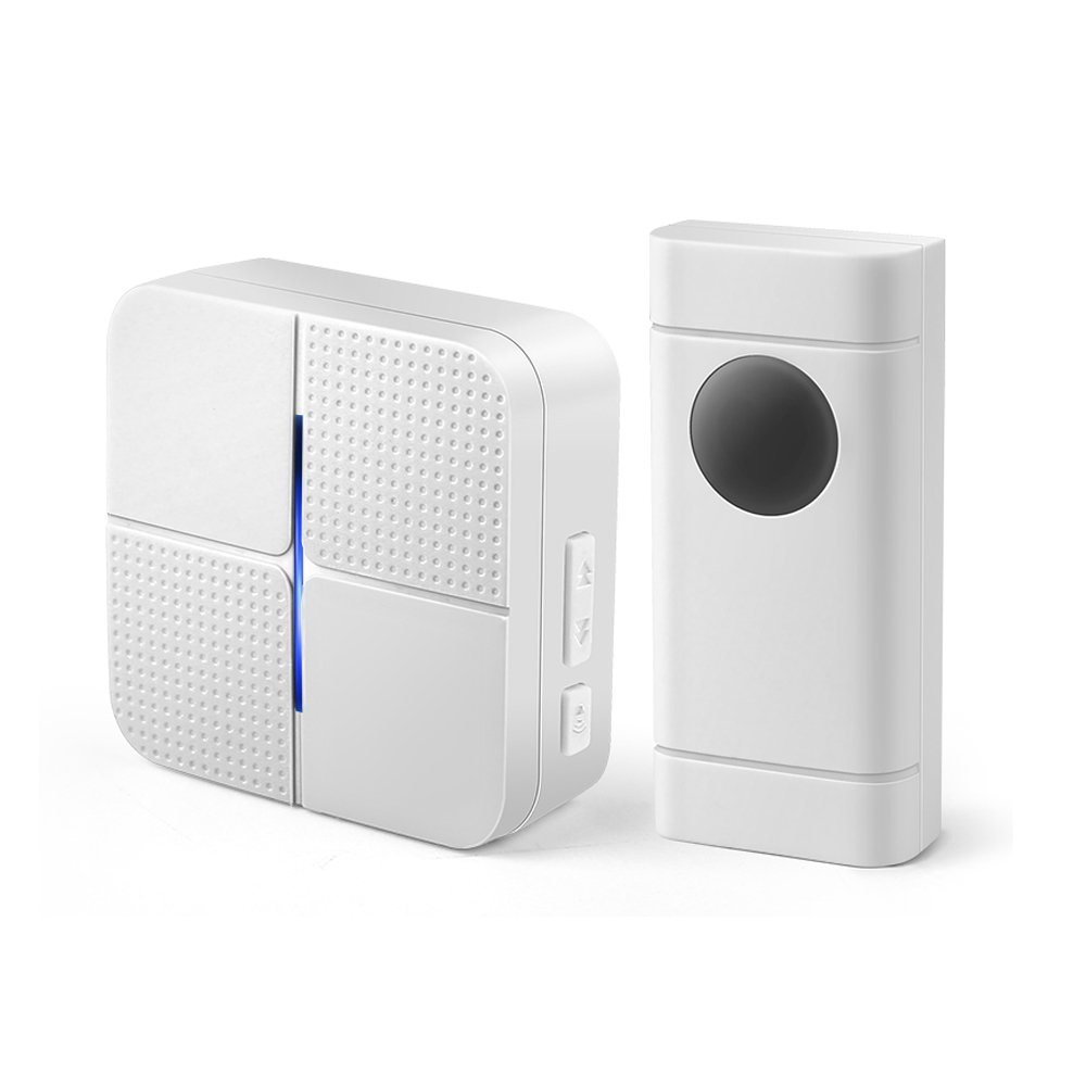 Wireless Doorbell Chime with 1 Plug-in Receiver & Remote Push Button Transmitter, Operating at over 500-feet Range with Over 50 Chimes, No Batteries Required for Receiver, 4 Level Adjustable Volume