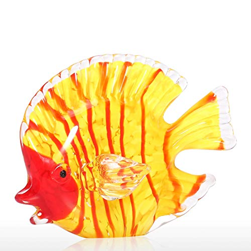 Tooarts Glass Sculpture Yellow Fish Hand Blown Glass Art Marine Yellow Fish Paperweight Decorative Figurine Gift Home Decor Ornament