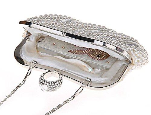 Messenger Diamond Blanco paquete negro Nupciales Novias Ladies Noch Chain Noche Crema Fashion Yyy Bolso Banquet Pearl Clutch De Western Bag Bolso Wlq fqwPFC
