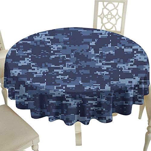 Camo Leakproof Polyester Tablecloth Militaristic Digital Effected Armed Forces Pattern Grunge Fashion in Blue Outdoor and Indoor use D43.3 Inch Dark Blue Light (Best Ge Home Fashion 72 Longs)