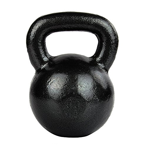 FEIERDUN 50lb Iron kettlebells Exercise Fitness Kettlebell With Workout Poster,Black