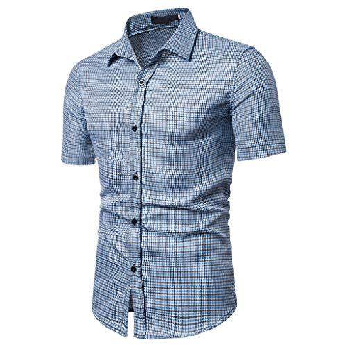 JJLIKER Men's Regular-Fit Short-Sleeve Plaid Shirt Casual Business Button Down Shirts Classic Formal Tops ()