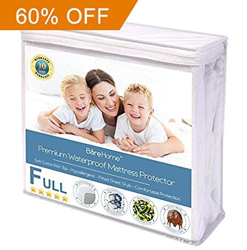 Full Size Premium Mattress Protector - 100% Waterproof - Vinyl Free Hypoallergenic - 10 Year Warranty - (Full, White)