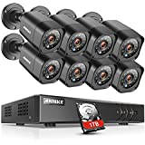 ANNKE 8CH Full 1080N Security Camera System CCTV DVR and (8) 720P Night Vision Surveillance Cameras, IP66 Weatherproof, QR Code Scan and Remote Access (720P 8CH +8 + 1TB Hard Drive)