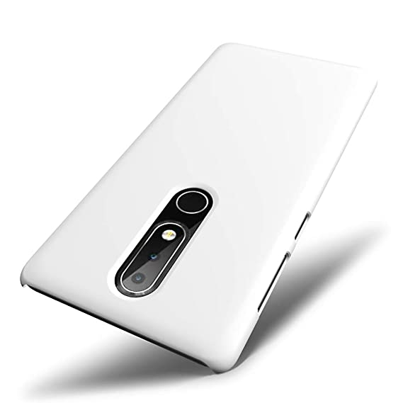 the best attitude 6ac80 3fbb2 SLEO Nokia 6.1 Plus Case, Nokia X6 2018 Case - Rubberized Hard PC Back Case  Cover for Nokia 6.1 Plus/Nokia X6 2018 Phone - White