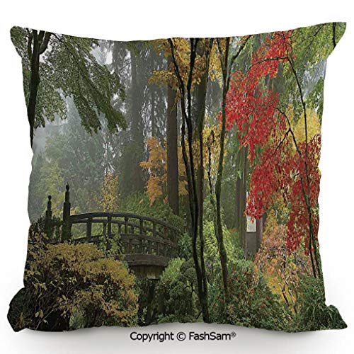 FashSam Home Super Soft Throw Pillow Wet Wooden Bridge at Portland Japanese Garden Oregon in Autumn with Various Trees for Sofa Couch or Bed(16
