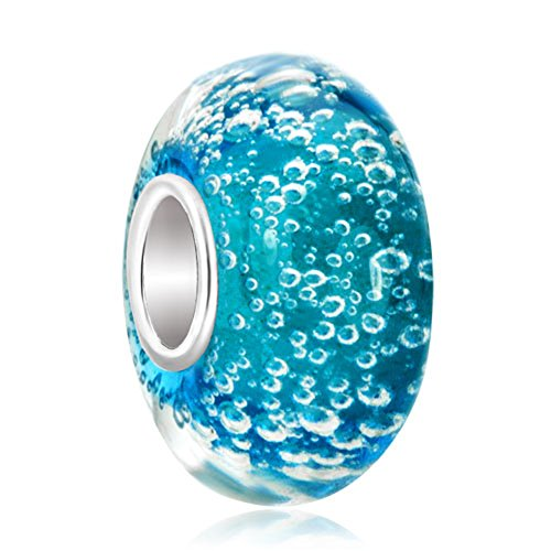 LovelyCharms 925 Sterling Silver Blue Bubbles Murano Glass Beads Fit Pandora Charm Bracelets