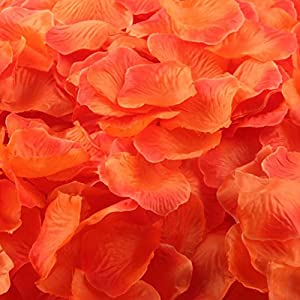 Sandistore 1000pcs Silk Rose Artificial Petals Wedding Party Flower Favors Decor (1000, Orange) 111