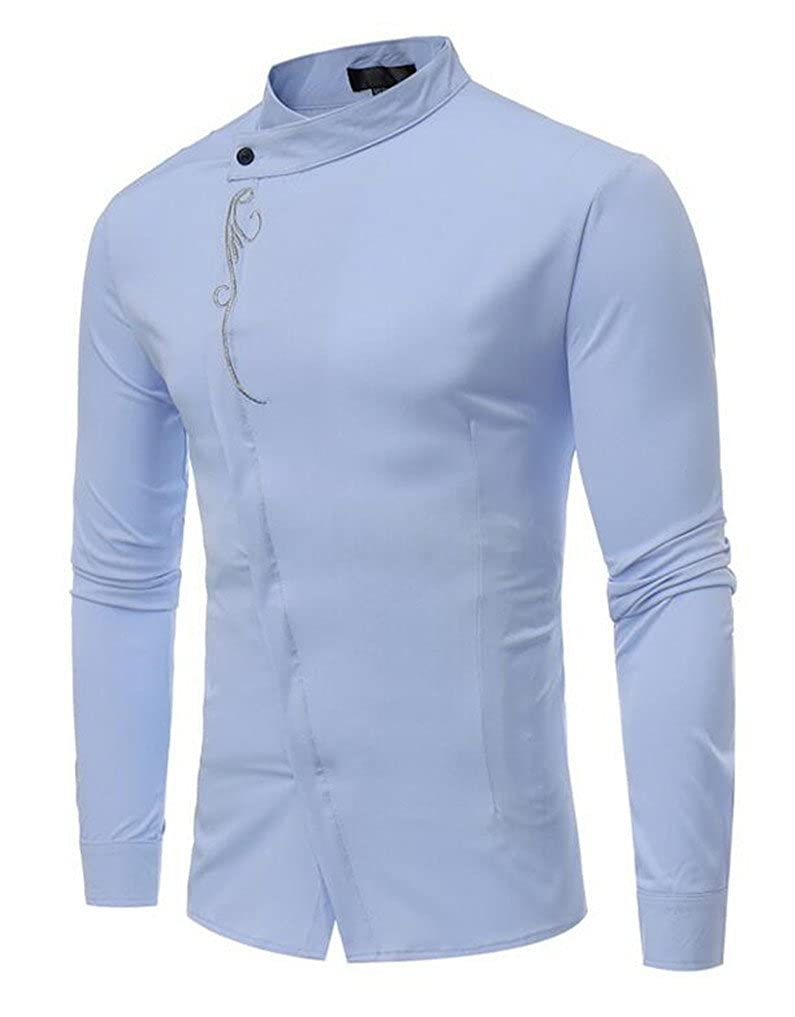 473cdf0d Cafuny Mens Stand Collar Long Sleeve Casual Oblique Placket Button Down  Shirt - Blue -: Amazon.co.uk: Clothing