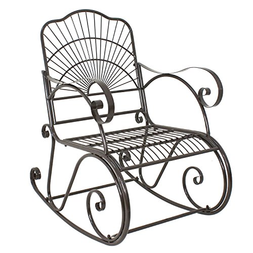ZENY Patio Rocking Chair Wrought Iron Porch Decorative Metal Glider Rocker  Outdoor Backyard Garden High Back