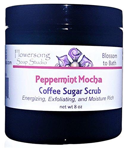 Flowersong Peppermint Mocha Latte Coffee Sugar Scrub - Energizing, Exfoliating, and Moisture Rich -