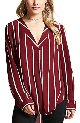 9 Ladies Long Sleeve Blouse (Ladies Striped Shirts Autumn V Neck Long Sleeve Loose Blouses for Women Chic Chiffon Tops (Burgundy, M))