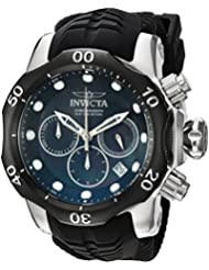Invicta Mens Venom Quartz Stainless Steel and Silicone Casual Watch, Color:Black (Model: 22357)