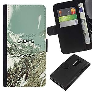 """Be-Star la tarjeta de Cr¨¦dito Slots PU Funda de cuero Monedero caso cubierta de piel Para LG G2 D800 ( Dreams Awake Monta?as Nubes Mensaje del trullo"""" )"""