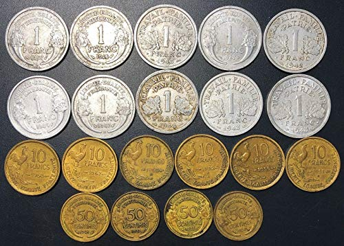 Lot of 20x France 1, 10 Francs & 50 Centimes Coins for sale  Delivered anywhere in Canada