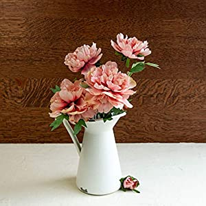 Artificial Flowers, 22 in. Moutan Peony, Fake Bouquet of Hydrangea Silk for Home Garden Party Wedding Decorations, Pack of 2 (Pink) 84