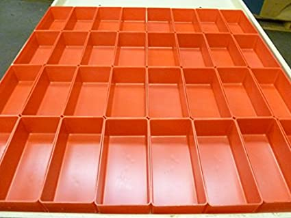"32-3""x6""x2"" deep red plastic boxes fit lista vidmar toolbox ..."