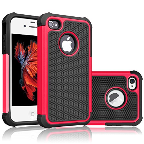iPhone 4S Case, Tekcoo(TM) [Tmajor Series] iPhone 4 / 4S Case Shock Absorbing Hybrid Best Impact Defender Rugged Slim Grip Bumper Cover Shell w/ Plastic Outer & Rubber Silicone Inner [Red/Black] (Coral Iphone 4 Case)