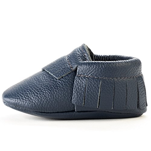 (BirdRock Baby Moccasins - 30+ Styles for Boys & Girls! Every Pair Feeds a Child (US 6.5, Navy Blue) )