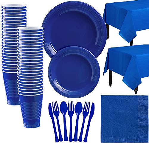 Amscan Royal Blue Plastic Tableware Kit for 50 Guests, Party Supplies, Includes Table Covers, Plates, Cups and -