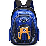 Kids Backpack Cars - Uniuooi Primary School Bag for Boys Age 5-12 Years Old Childrens Book Bag Waterproof Travel Rucksack (Blue)