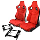nissan 240sx drift - Pair of RS-025-RD Suede Reclinable Racing Seat +Bracket for Nissan 240SX