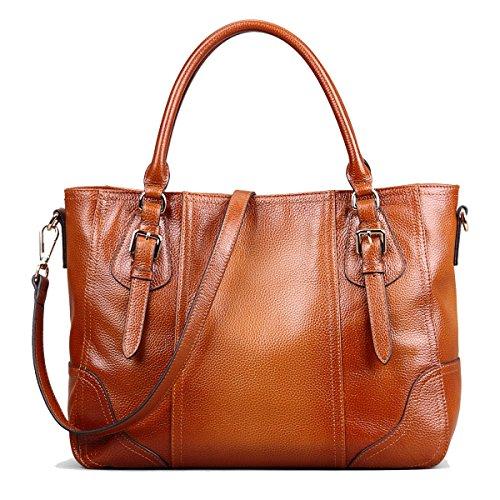 Big Sale—S-ZONE Women's Vintage Genuine Leather Shoulder Bag Big Capacity Handbags Tote Top-handle Purse