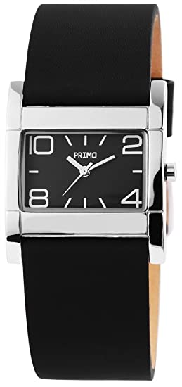 Primo de mujer reloj de pulsera Negro Plata analógico de cuarzo metal piel Moderno Mujer Reloj