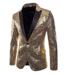 Men's Sequins Prom Slim One Button Blazer