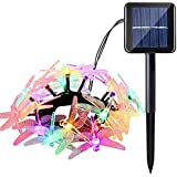 Icicle Dragonfly Solar Christmas Lights, 16ft 20 LED 8 Modes Waterproof Fairy Lighting for Christmas Trees, Garden...
