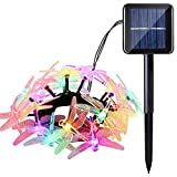 Icicle Solar String Lights, 16ft 20 LED 8 Modes Dragonfly Lights Waterproof Fairy Lighting Indoor/Outdoor Landscape Decoration for Garden, Patio, Wedding, Party and Holiday (Multi Color)