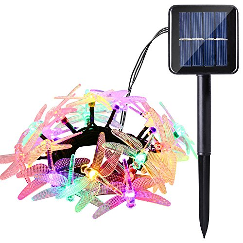 Icicle Solar String Lights, 16ft 20 LED 8 Modes Dragonfly Shaped Waterproof Decorative Fairy Lights for...