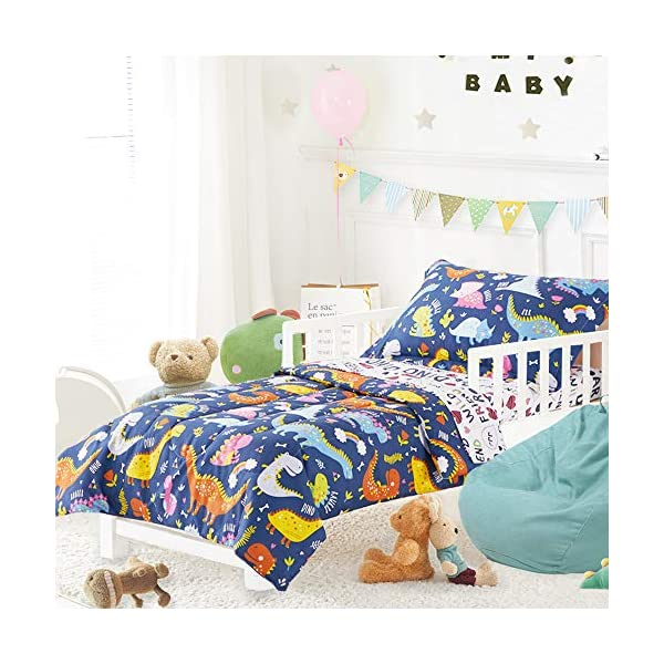Joyreap 4 Piece Toddler Bedding Set, Standard Size Colorful Dinosaur Printed on Navy, Includes Quilted Comforter, Fitted Sheet, Top Sheet, and Pillow Case for Boys n Girls 2