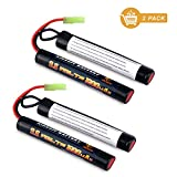 melasta 2 Pack 2/3A 9.6v 1600mAh Butterfly NunChuck NIMH Battery Pack with Mini Tamiya Connector for Airsoft Guns