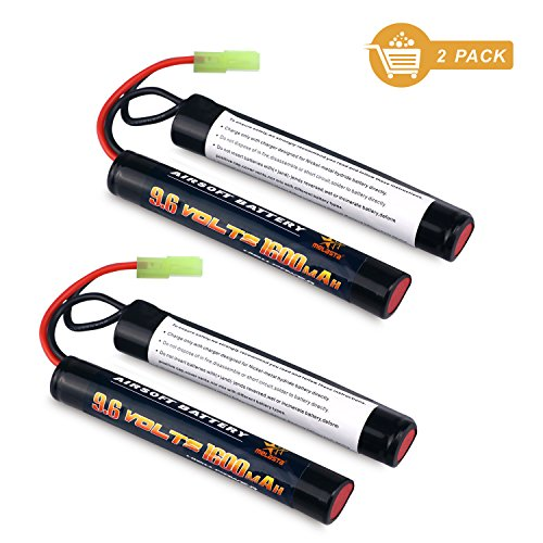 melasta 2 Pack 2/3A 9.6v 1600mAh Butterfly NunChuck NIMH Battery Pack with Mini Tamiya Connector for Airsoft Guns by melasta