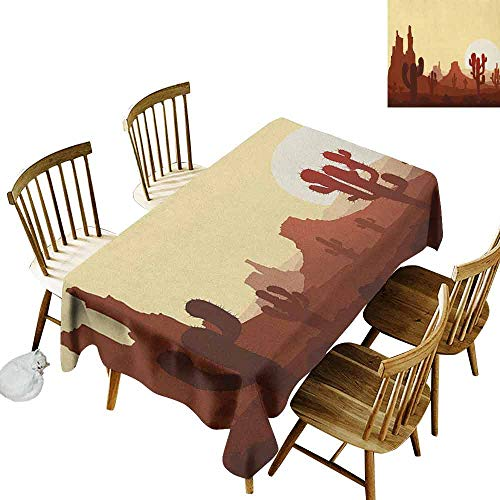 DONEECKL Cactus Colorful Tablecloth Protection Table Arid Country Landscape with Sunset in Stone Desert Saguaro and Mountains Yellow Brown Redwood W60 xL102