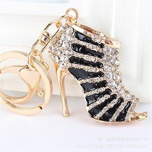 Crystal Rhinestone Diamante Gold Toned High Heel Shoe Decoration Chain for Phone Car Bag Key Ring Keychain Charm Gift - Perfect for Women Ladies Girls' Phone Key Bag (Black)