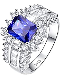 Women's Emerald Cut Created Blue Sapphire & CZ 925 Sterling Silver Eternity Halo Anniversary Ring
