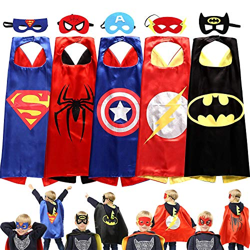 Supreal Supply Company Superhero Capes Dress up Costumes Cartoon Set of 5 with Masks Kids Boys Girls Birthday Party Supplies Christmas -