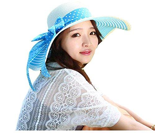 Women Large Wide Brim Floppy Beach Sun Visor Shade Straw Hat Cap Sky Blue