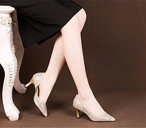 trapano tacco Donna incavate Golden Moda calzatura molla tallone del 7cm testa aria AJUNR lato L'acqua Scarpe singola alto Sandali scarpe sottile Alla Da appuntita 7Tgqw8xS