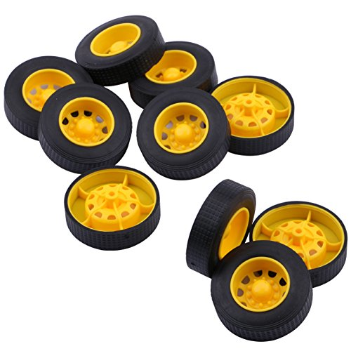 Yeeco 10Pcs Plastic Toy Car Tire Wheel, Mini Φ342mm Smart RC Car Robot Tyres Model Gear Parts with Concave Wheel Hub -