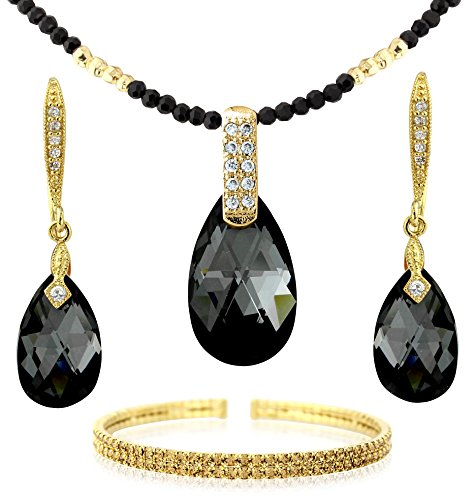 Black and Gold Tone Tear Drop Jewelry - Necklace Earrings Bracelet Set - Swarovski Elements Crystals - For ()