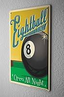 Blechschild Nostalgie Eightball Billiardkugel Acht Metallschild 20X30 cm