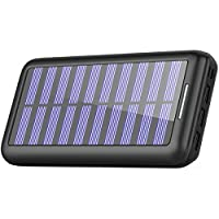Solar Charger AKEEPOW Power Bank 22000mAh Portable Solar Battery Pack with Dual Ports Input and 3 USB Output External Portable Charger for Cell Phone, iPhone, iPad, Samsung and other Smart Devices